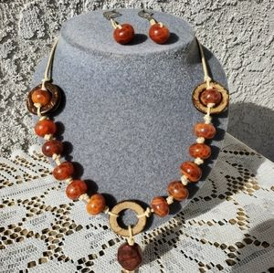 Set of necklace and matching earrings